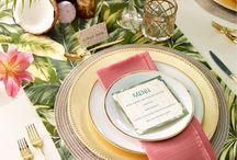Décoration de table mariage exotique tropical