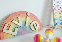 NameBows / Personalised Handmade Custom Rainbow Wooden Kids Name Puzzles