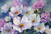 цветы акварель поэтапно