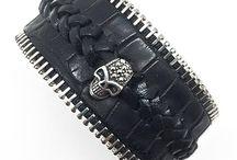 Bracelet tête de mort / Bracelet en cuir et tête de mort en argent