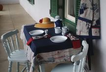 Perfect Picture Living - Tafel op Tafelberg / Uniquely handmade tablecloth, serviettes and utensil-envelop, HIS and HERS aprons. The whole lot can be mixed and marched to change your table setting to suite the occasion.