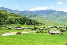 Die Region des Nordwestens von Vietnam / Die Region des Nordwestens bietet herrliche Landschaften wie: Reisterrassen, grünen Berge und auch malerische und charmante Dörfer, der Wohnort von vielen ethnischen Minderheiten.