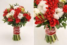Red wedding bouquet / Свадебные букеты в красом цвете