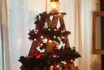 Old ladder Christmas tree / Old wooden ladder made into Christmas tree. Add skates and sled and lights galore.