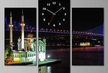 Tablo Saatler / Dekoratif ve Modern 3 Parçalı, 2 Parçalı ve Tek Parça Canvas Tablo Saatler