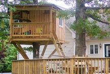 cabane bois dans un arbre / maisonnette bois  maisonnette enfant cabane dans les arbres  cabane percher