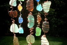 WIRE WRAPPED SEA GLASS  JEWELLERY and WIND CHIMES