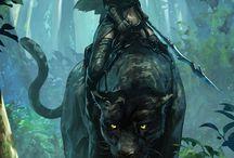 Fantasy girls with animals