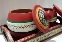 Set of Two Handpainted Jars, with Ethnic Wooden Tray