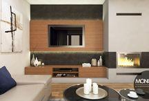 Projekt salonu z kuchnią w nowoczesnym stylu