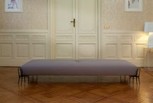 """56 DAY BED by Ron Gilad / Adele-c """"56 DAY BED"""" by Ron Gilad. Upholstered seat with fixed cover and feet in lacquered steel. Metal structure stuffed with polyurethane."""