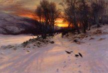 kråker i solnedgang