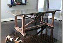 Concrete table, pots etc