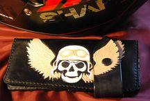 Long biker wallet, handcarving , veg tan leather