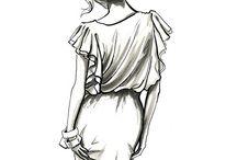 Idea modelle watercolor con abiti è lingerie