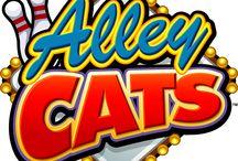 """Alley Cats / Video slot simpatica, Alley Cats, dove i protagonisti sono gatti randagi che cercano vendetta contro un cagnetto perbene. Tre o più simboli Strike attivano casualmente le partite bonus """"Giocate gratuite"""" (20 free spin) e """"Premio misterioso"""" (scegli tra gli oggetti proposti e vinci i premi che nascondono). Fai strike!"""