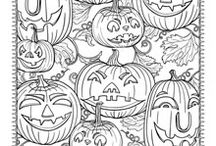 coloring page halloween / autumn