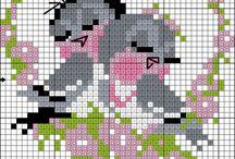 kanaviçe kuşlar çiçekler