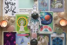 My offerings / Intuitive Healing Mandalas which consist of crystals, shells, oracle cards, tarot, angel messages, hand yoga, mudras, colour therapy, Pantone, goddess energy, Inspiration, direction, insight, positive affirmation, mermaid lore, chakras, chakra healing, grounding, love, light, metaphysical, Namaste.