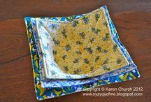 Scrap cloth microwave bowl holders / by Carol Witt