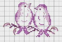 broderie point de croix :  les oiseaux