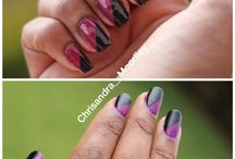Nail art #purple nails#silver nails #black nails / Elegant nails using salon Hanson chrome, formula x matte effects and OPI colours Alphine snow and anti bleak - best shit ever! #nail art#purple nails