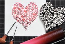 Lino printing and stamp making