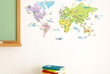 Explorer themed boys room / Maps, planes and trains