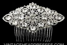 Art Deco Combs / Unique vintage bridal hair accessories. Hair brooches, hair combs, hairpins and accessories created using genuine vintage jewellery pieces sourced from around the world. Each vintage hair comb, hairpin, hair brooch and vintage hair accessory is created from authentic vintage jewellery, reconstructed into truly unique vintage wedding accessories with a blend of modern materials.