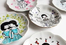 Painted Cups and plates