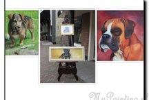 Hondenschilderijen / Een schilderij van uw hond, speciaal voor u op maat gemaakt en in elke stijl en formaat mogelijk.  Een schilderij is ook een bijzonder en onvergelijkelijk cadeau.