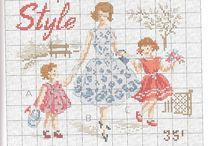 Cross stitch-ladies