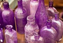Glass bottles and vases and glass decor