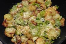 Gebakken aardappel. Met ui prei spek