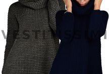 Pullover maglione donna lungo lana maxi maglia collo alto lupetto dolcevita M11