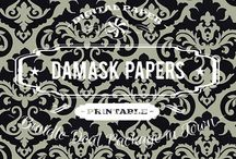 DAMASK PAPERS / DIGITAL PAPERS - DAMASK PAPERS BY DIGITAL PAPER SHOP