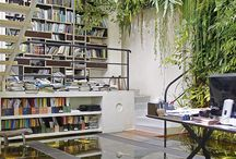 Idees Despatx / Idees per a la decoració disposició del despatx. Ar,aris, taules iluminació., finestres...