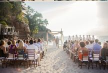 Destination Wedding Ceremony Inspiration / Beach weddings are breathtaking, and there are so many ways to personalize your decor to make it fit your vision.  Contact us at weddingsbyfunjet.com to plan your dream destination wedding.