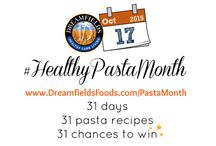 #HealthyPastaMonth 2015 Recipes / October is #HealthyPastaMonth which means we'll be featuring a different recipe from a leading blogger every day of the month... and they will each be giving away a Dreamfields family pack + a $25 gift card!  That's 31 new recipes AND 31 chances to win!  Oh the pasta-bilities!  / by Dreamfields Pasta