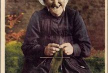 Knitting women and men.