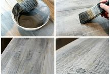 Painted distressed wood / Distressed wood look