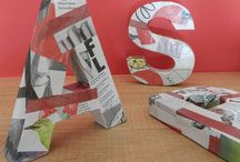 Drap Art Typeface 6 Letters / Handmade letters made with upcycled cardboard and decorated with newspapers and découpage glue
