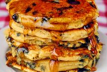 Pancakes / Lemony and light with cornmeal and blueberries