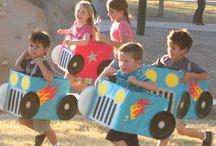 preschool, car races / cardboard box car racing