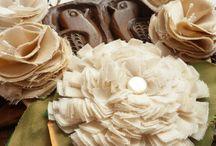 Fleurs en coton, tissus, tricot, crochet !!
