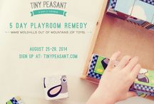 5 Day Playroom Remedy E-Course / 5 Day Playroom Remedy - Free E-Course - August 25-29, 2014.  SIGN UP HERE: http://tinypeasant.com/   If you're tired of the growing mountains of toys in your home, join us for a five day playroom remedy to turn those mountains into molehills. We'll cover the qualities of great toys, how to organize & how to help your children enjoy the toys you do keep even more. Let's do this together!  If you are participating & would like to pin to the board, please send me a message & I'll add you!