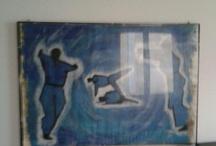 Surfing, Yin yang e altri studi / Studi sul movimento. Acrilico su Carta. Milano, 1999