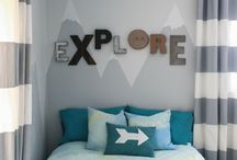 Kid's Explorer Bedroom / Explorer Extraordinaire Themed Room - From Astronauts to World Travelers - Lots of Maps, Transportation, Vintage Industrial and Modern Design Mixed Decor