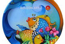 Renkli balıklı tabak
