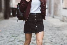 black button skirt outfit
